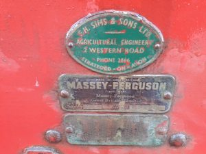 Badge on Massey Fergusson 728 seed drill sold for YANA