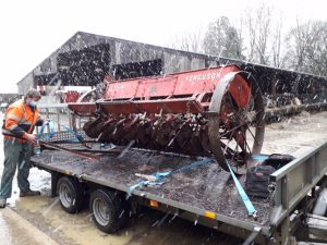 Loading up Massey-Ferguson 728 seed drill bound for its new home.