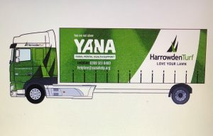 YANA Harrowden Turf lorry livery design